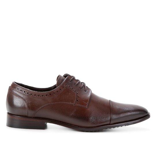 Sapato Social Couro Shoestock Brogues Masculino - Café