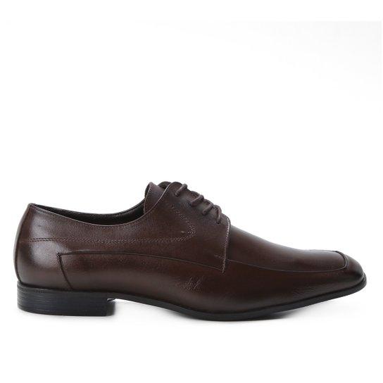 Sapato Social Couro Shoestock Cadarço Masculino - Café