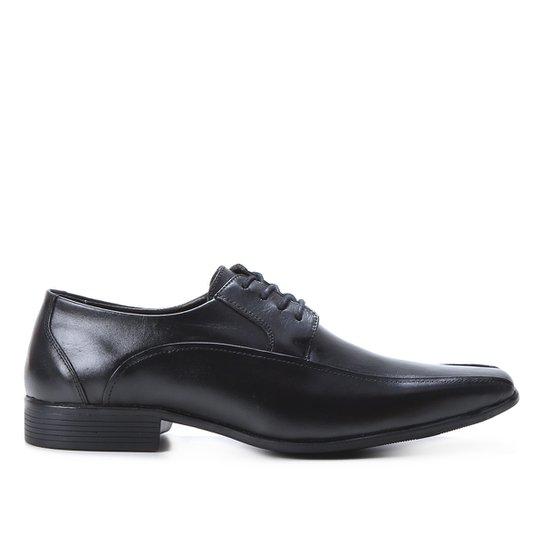 Sapato Social Couro Shoestock Cadarço Recorte Masculino - Preto