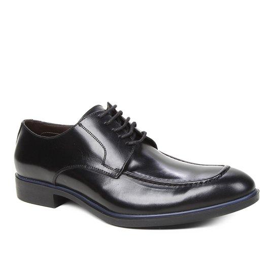 Sapato Social Couro Shoestock Clássico Cadarço Masculino - Preto