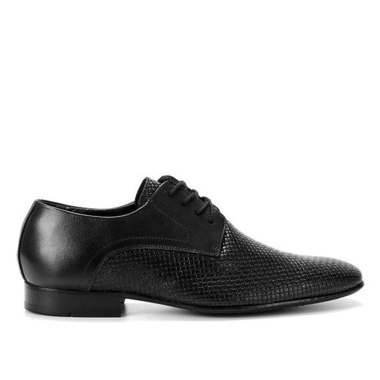 Sapato Social Couro Shoestock Cobra Cadarço Masculino - Preto