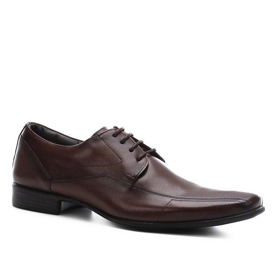 Sapato Social Shoestock Couro Liso Masculino - Café