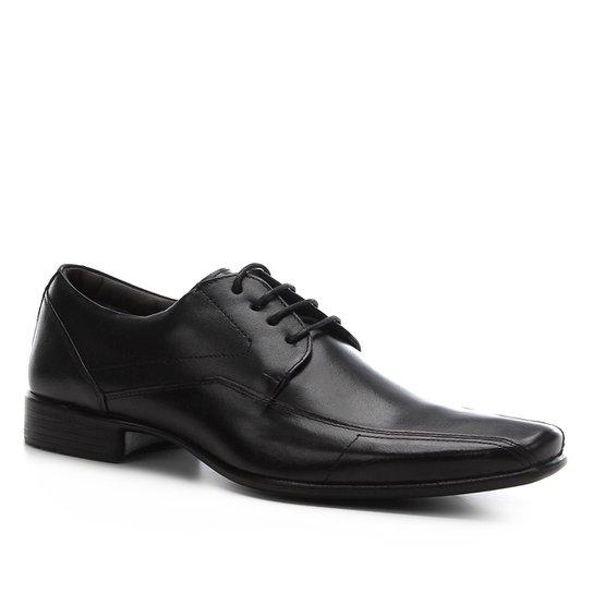 Sapato Social Shoestock Couro Liso Masculino - Preto