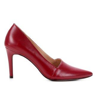 Scarpin Couro Shoestock Abotinado Salto Alto