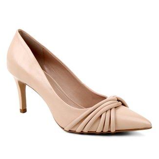Scarpin Couro Shoestock Bico Fino Tiras Rolete Salto Médio