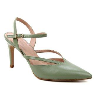 Scarpin Couro Shoestock Bico Fino Tiras Salto Alto