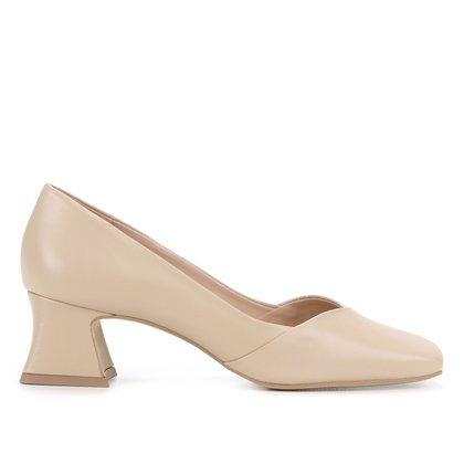 Scarpin Couro Shoestock Bico Quadrado Salto Sino
