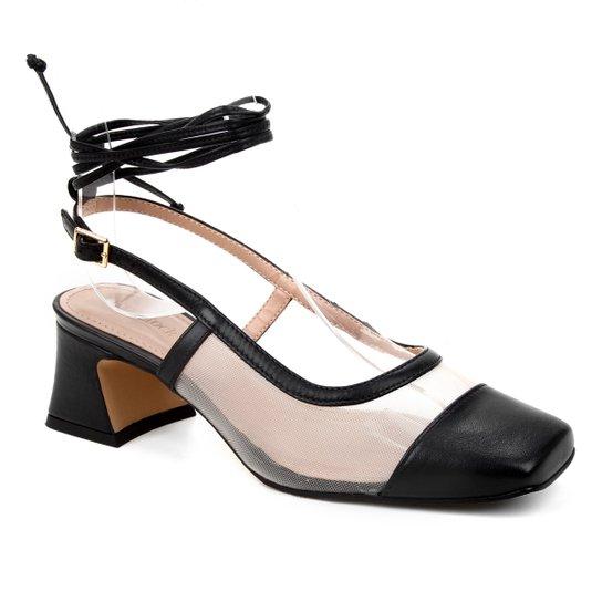 Scarpin Couro Shoestock Bico Quadrado Tela Salto Bloco Médio - Preto