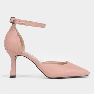 Scarpin Couro Shoestock Bico Reto Salto Alto
