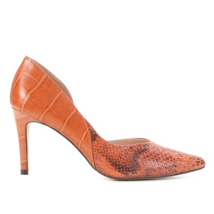 Scarpin Couro Shoestock Cobra Croco Bico Fino