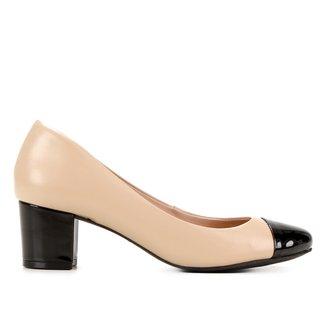 Scarpin Couro Shoestock Comfy Salto Bloco Médio