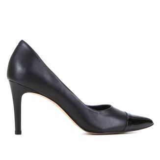 Scarpin Couro Shoestock Fátima Bico Fino Salto Alto