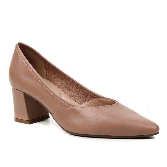 Scarpin Couro Shoestock For You Salto Bloco Médio - Nude