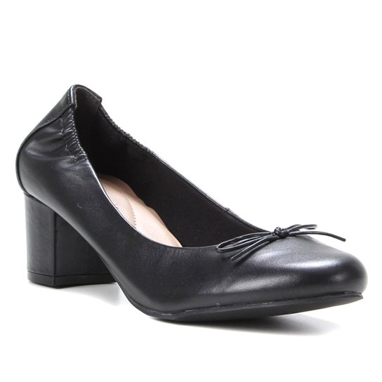 Scarpin Couro Shoestock For You Salto Bloco Médio - Preto