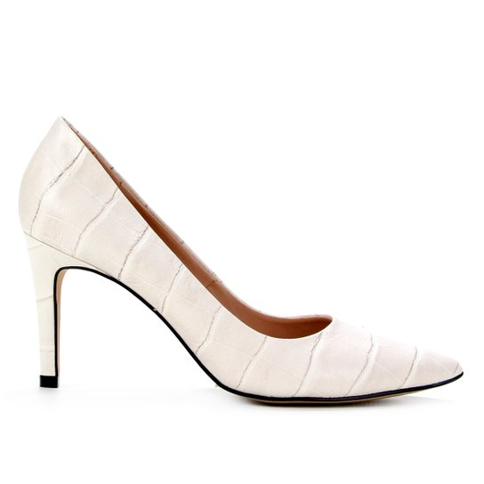 Scarpin Couro Shoestock Graciela Croco Salto Alto - Off White