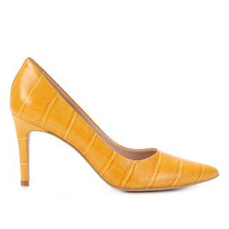 Scarpin Couro Shoestock Graciela Croco Salto Alto