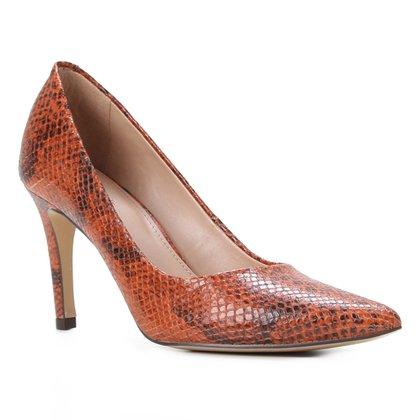 Scarpin Couro Shoestock Graciela Salto Alto Cobra Feeling