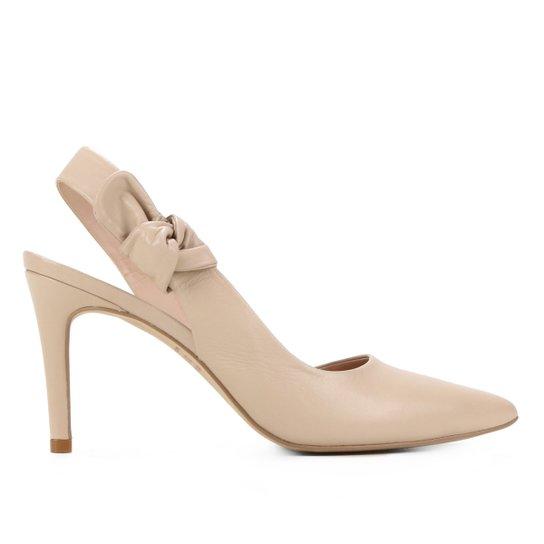 Scarpin Couro Shoestock Laço Salto Alto - Nude