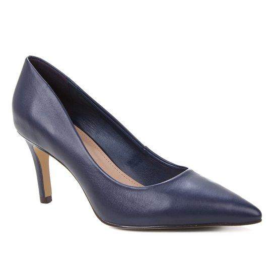 Scarpin Couro Shoestock Liso Salto Médio - Marinho