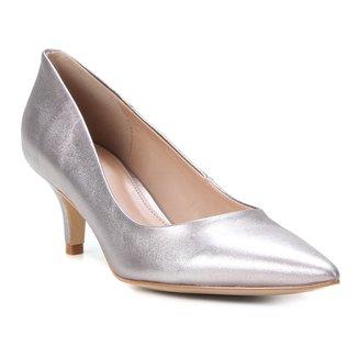 Scarpin Couro Shoestock Metalizado Salto Baixo