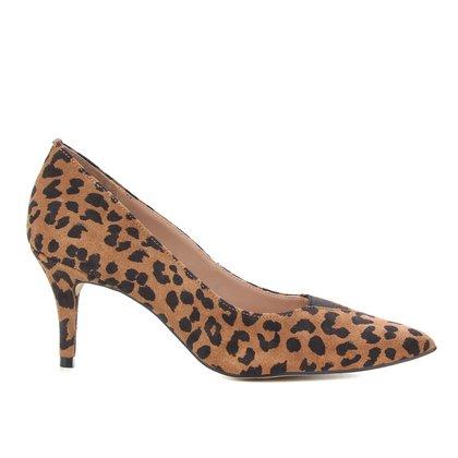 Scarpin Couro Shoestock Onça Camurça Salto Alto