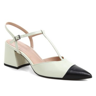 Scarpin Couro Shoestock Salomé Bicolor Salto Médio