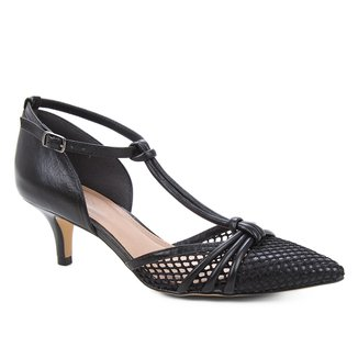 Scarpin Couro Shoestock Salomé Tela