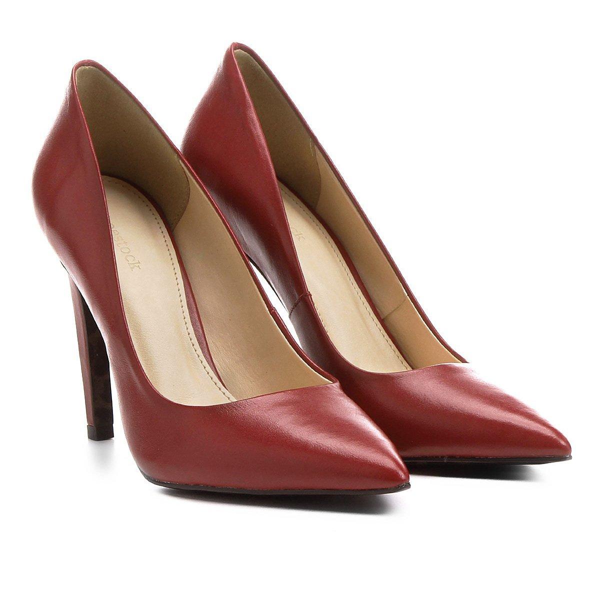 03a9a5c3b Scarpin Couro Shoestock Salto Alto Animal Print - Vermelho | Shoestock