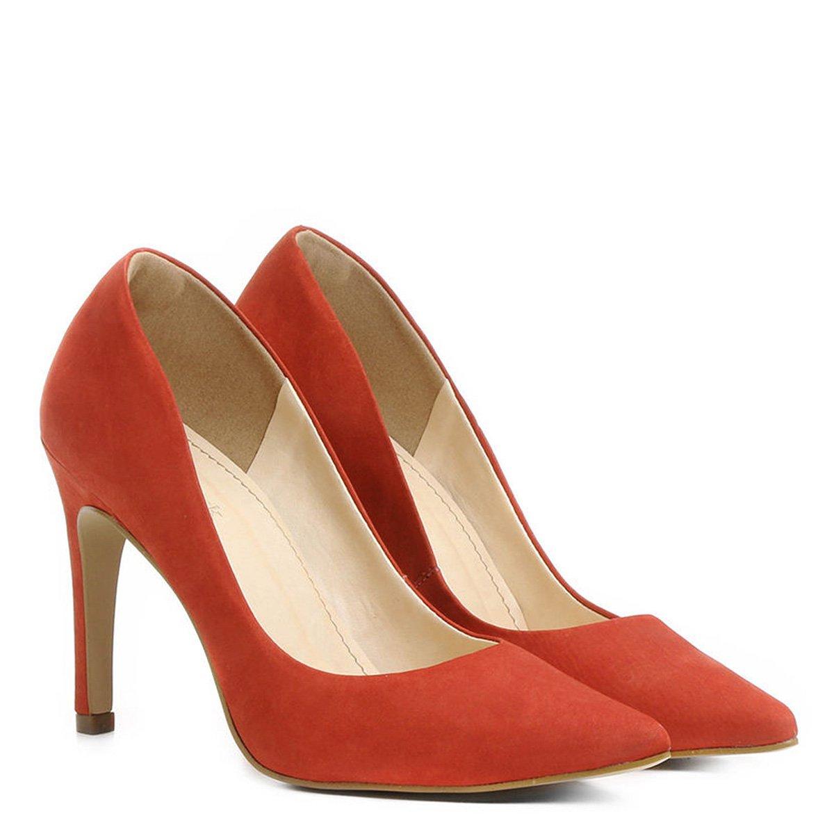 61da61fb44 Scarpin Couro Shoestock Salto Alto Bico Fino Nobuck - Compre Agora ...