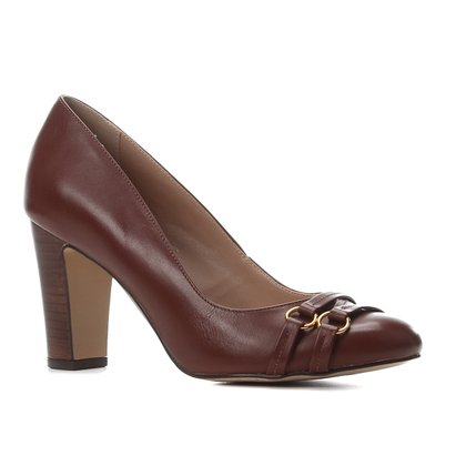 Scarpin Couro Shoestock Salto Alto Bico Redondo Tiras