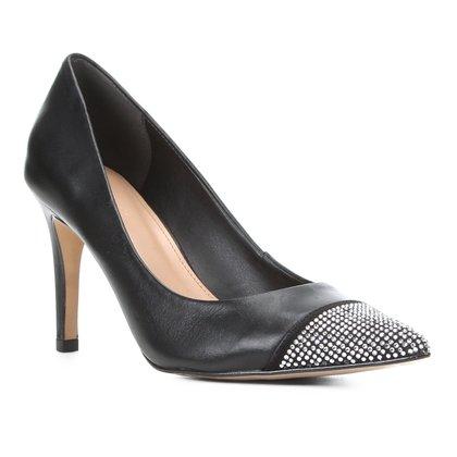 Scarpin Couro Shoestock Salto Alto Brilho