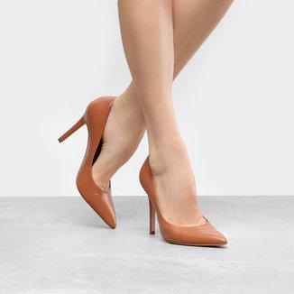 Scarpin Couro Shoestock Salto Alto Color