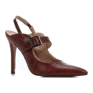 Scarpin Couro Shoestock Salto Alto Croco Bico Fino Fivela