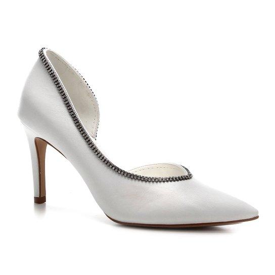 Scarpin Couro Shoestock Salto Alto Glam Noiva - Branco