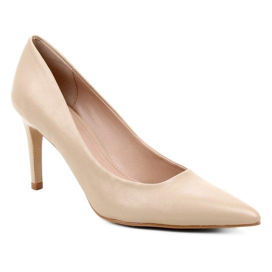 Scarpin Couro Shoestock Salto Alto Graciela  - Cáqui