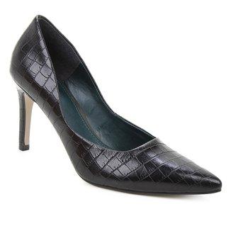 Scarpin Couro Shoestock Salto Alto Graciela Croco