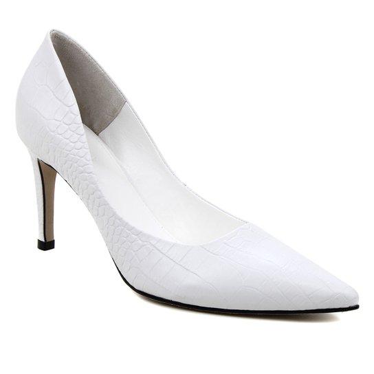Scarpin Couro Shoestock Salto Alto Graciela Croco - Branco