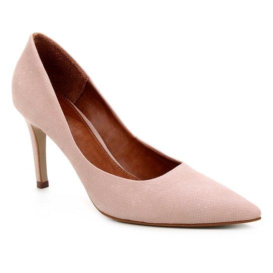 Scarpin Couro Shoestock Salto Alto Graciela Nobuck - Nude