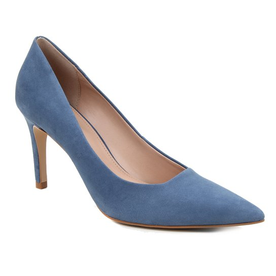 Scarpin Couro Shoestock Salto Alto Graciela Nobuck - Azul