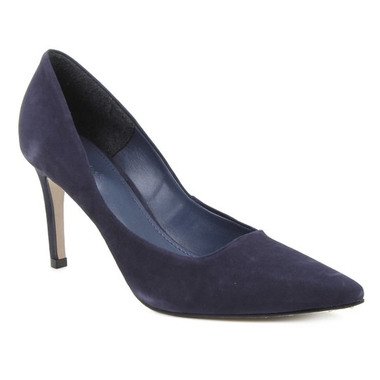 Scarpin Couro Shoestock Salto Alto Graciela Nobuck - Marinho