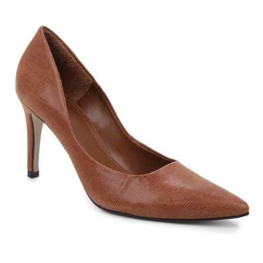 Scarpin Couro Shoestock Salto Alto Graciela Nobuck - Marrom