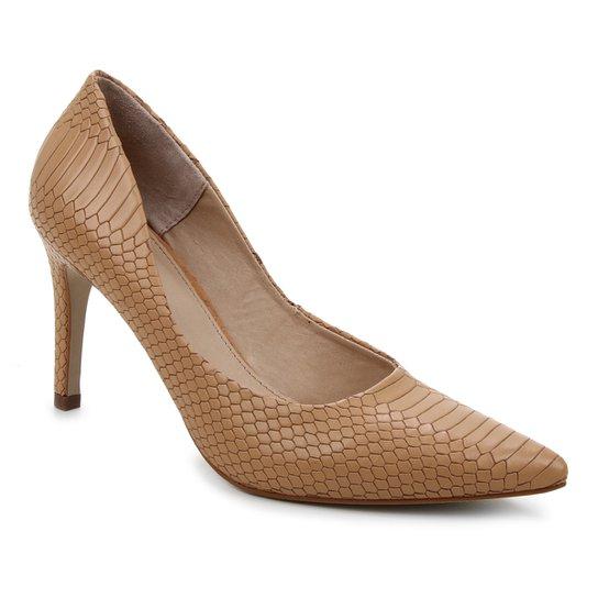 Scarpin Couro Shoestock Salto Alto Graciela Snake - Caramelo