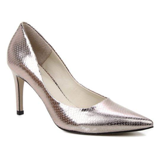 Scarpin Couro Shoestock Salto Alto Graciela Snake - Prata