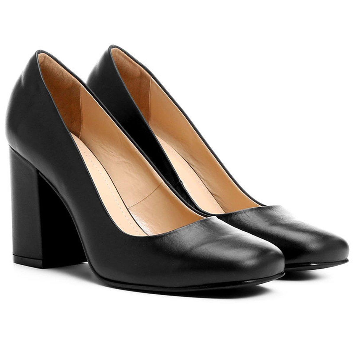 eed780af14 Scarpin Couro Shoestock Salto Alto Grosso - Compre Agora