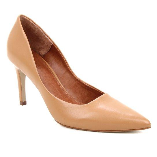 Scarpin Couro Shoestock Salto Alto Mestiço Graciela  - Caramelo