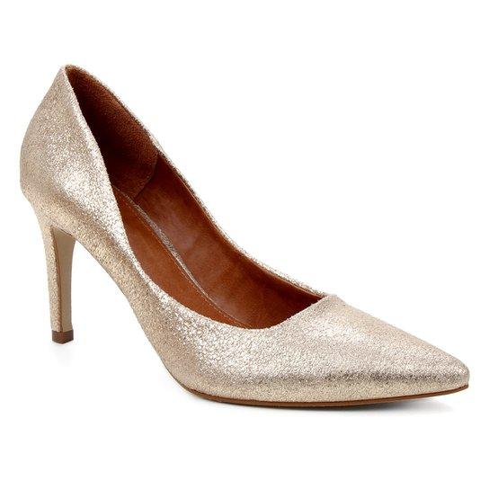 Scarpin Couro Shoestock Salto Alto Mestiço Graciela  - Dourado