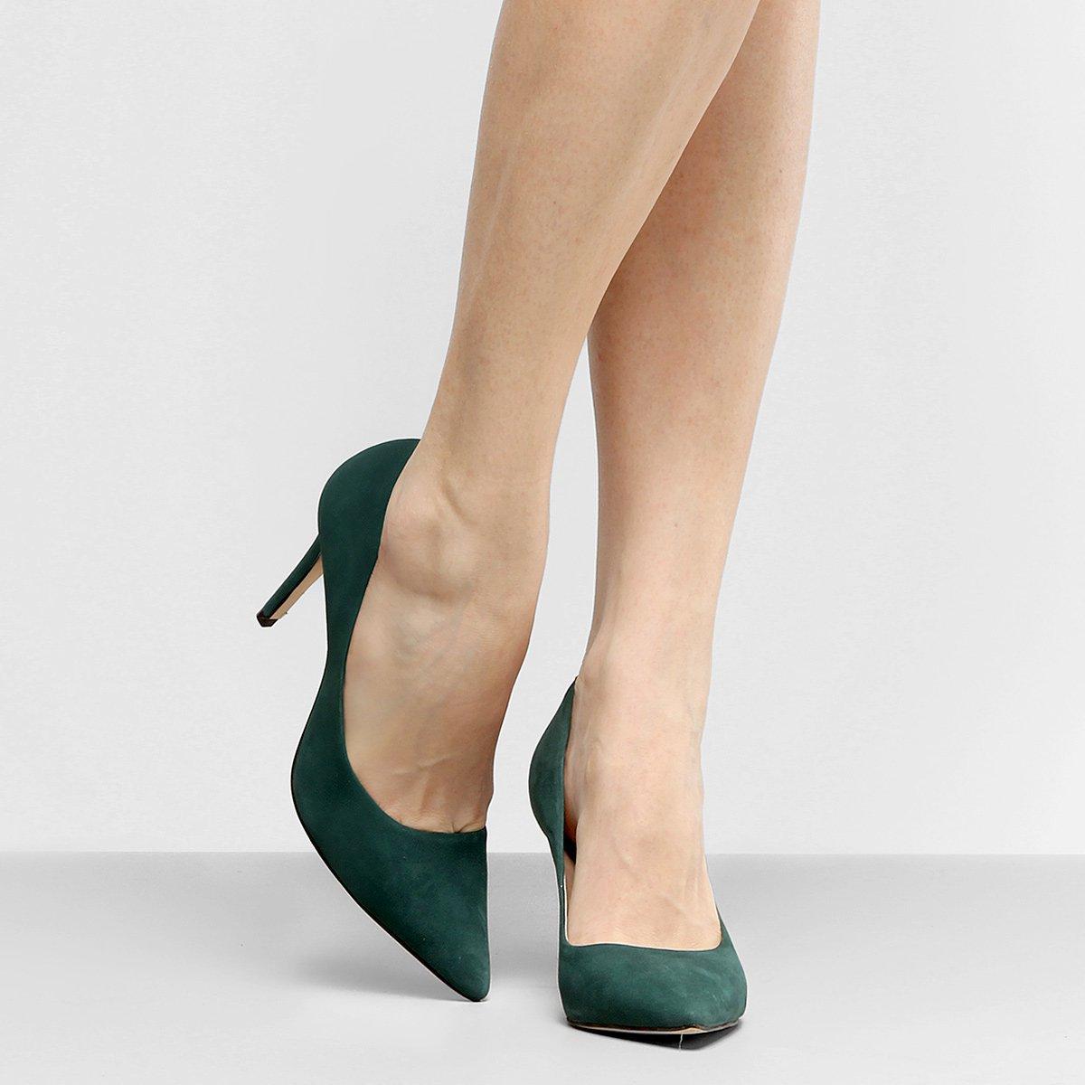 e928c0da6e Scarpin Couro Shoestock Salto Alto Nobuck - Verde