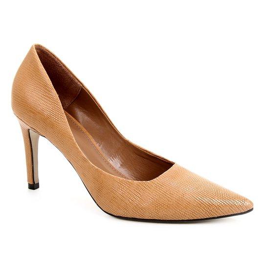 Scarpin Couro Shoestock Salto Alto Serpente - Caramelo