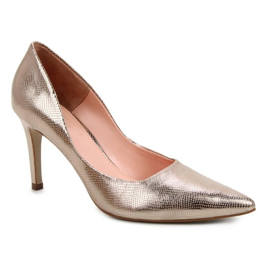 Scarpin Couro Shoestock Salto Alto Serpente - Dourado
