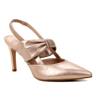 Scarpin Couro Shoestock Salto Alto Soft Camurça Metalizado